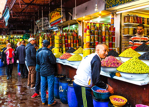 Olive market at Marrakech, Morocco-