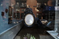 sailor hat (omoo) Tags: newyorkcity reflection art window glass self store artgallery westvillage streetscene photograph sailor greenwichvillage sailorhat artphotography november11 thehearthasitsreasons dscn2773 jeffersonhayman robinricegallery sailor2012