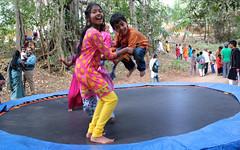 Trampoline (Nagarjun) Tags: bangalore malu valleyschool saree sari tatu kanishka kinu malathi takshila