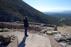 "Beth looks past the ""Palace"" to the sea, Mycenae"