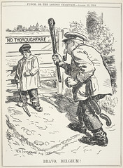 Punch, or the London charivari - caption: ''Bravo, Belgium !' Political cartoon showing a Belgian farmer standing up to the German aggressor.'