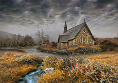 Ireland (Jim Pixel) Tags: ireland cloud church photoshop painting landscape paint farm religion chapel medieval celtic paysage storybook patrimoine terrific lande conte celte patrimony priaux paintingmatte guidolieb
