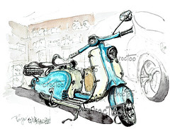 La Lambretta LD 125 (Croctoo) Tags: croctoo croquis croctoofr aquarelle watercolor lambretta scooter garage