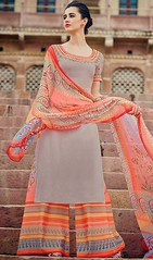 Gray Color Cotton Satin Embroidered Palazzo Dress