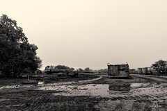 Deconstructing Construction (francoislinde) Tags: building nature mist mystical moody vehicle clouds haze 2017 mysterious scenic ash mud mystery smog soft landscape dirty water messy blackandwhite monochrome wet southafrica mystic cloudy construction morning fog truck scenery grey holidayresort cloud spooky expanding cloudiness gothic smoky misty dawn february