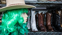 """The Eyes of Laura O'Mars (Jay:Dee) Tags: """"topw2017rs"""" topw toronto photo walks gerrard street mannequin store front window hat wig green"""