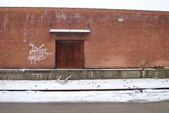 Brick Building (nick.amoscato) Tags: harris lampshades brick snow winter door graffiti