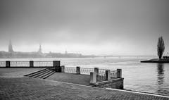 Always sunny in Riga 2 (MarxschisM) Tags: riga latvia daugava river mist fog bw