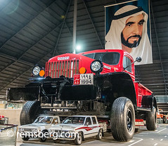 Abu Dhabi , United Arab Emirates - The Emirates National Auto Museum houses around 200 cars belonging to HH Sheikh Hamad Bin Hamdan Al Nahyan. The collection includes  off-road vehicles and classic American cars  and the world's largest truck (Remsberg Photos) Tags: uae arabic arabian persiangulf emirate unitedarabemirates abudhabi autoshow car planes transporation entertainment landrover offroading adventure 4x4 vehicle largest rainbow shiek collection museum truck powerwagon dodge liwa unitedarabemerites