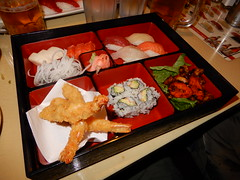 Bento box (Just Back) Tags: crisp hot crust prawn shrimp eat food japanese sashimi sushi rice sauce fish yellowtail tuna wasabi brassicaceae compartment abteilung dinner table tisch restaurant taste savory salty sweet ginger lacquer radish fresh cold teriyaki meat kale design offer presentation art beer stpatricks columbia sc carolina