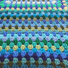 Rows of blues and greens (crochetbug13) Tags: crochet crocheted crocheting acrylicyarn grannyrectangle crochetrectangle crochetblanket crochetafghan blues greens