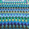 Rows of blues and greens (crochetbug13) Tags: crochet crocheted crocheting acrylicyarn grannyrectangle crochetrectangle crochetblanket crochetafghan blues greens