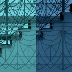 byzantine balustrade II fx (msdonnalee) Tags: blue blau bleu azul bannister staircase stairs stairway wroughtironbannister digitalfx pixlr blu синий 青 donnacleveland explore netartii artdigital