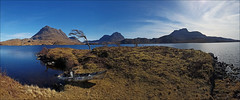 Wilderness (McRusty) Tags: wilderness wild camping panorama eilean mor loch sionascaig assynt north west highlands canoe canoeing kayak kayaking culmor culbeag stacpollaidh stack polly inverpolly estate rugged landscape fire ravaged beautiful natural outdoor beauty highland scotland blue sky skies sunshine sun shining paddling paradise lone tree