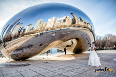 Cloud Gate with Impromptu Model Bride in Shot (Peter Ciro Photography) Tags: bean chicago cityskyline cloudgate landscape milleniumpark skyline exif:model=canoneos6d exif:lens=ef1740mmf4lusm exif:aperture=ƒ80 camera:make=canon exif:isospeed=100 geostate camera:model=canoneos6d geo:lat=41882765 geocountry geolocation geocity geo:lon=8762317 exif:focallength=24mm exif:make=canon