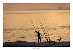 Fisherman (iosif.michael) Tags: sony a55 sea sky sunset magic light fisherman cyprus