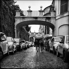 rain in rome square (Dave (www.thePhotonWhisperer.com)) Tags: rome walk umbrella cars arch vacation travel