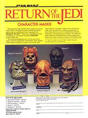 1983 Return of the Jedi character masks (Tom Simpson) Tags: returnofthejedi starwars mask admiralackbar wicket halloween vintage ad ads advertising advertisement vintagead vintageads weequay klaatu gamorreanguard donpost
