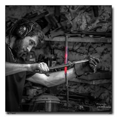 The Twist (jeremy willcocks) Tags: allerford blacksmith somerset uk england blackandwhite mono colourpop working metal hot person twist twisting jeremywillcocks wwwsouthwestscenesmeuk fujixpro2 xf50140mm