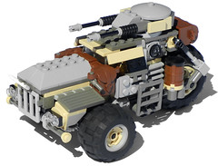 """Destrier"" Three-Wheeled Heavy Diesel Combat Car Mk. XXXI (Ɍaillery) Tags: lego military dieselpunk diesel three wheel heavy combat car armored auto vehicle destrier nonelectric pullback windup motor motorized scout fast attack"