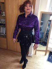 IMG_2054 (Sissy kaylah) Tags: transvestite tranny deluxesatin wolford blacktights rubbermini redhead heavymakeup purple shinyblouse satin satinblouse tgurl crossdresser