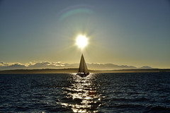 Sailing of the sun (RichSeattle) Tags: richseattle nikon d750 seattle sun sunset sky ocean sound pugetsound boat sailboat alignment reflection unitedstatesofamerica washington