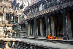 Temple Blessings (Five Second Rule) Tags: angkorwat siemreap cambodia 2017 ancient temple stone architecture monk orange robes blessing religion buddhism people monument worship landmark