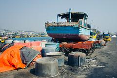 Dock (naren-photography) Tags: vizag visakhapatnam harbor fishing trawler ribbonfish shrimp yellow blue ricoh gr ii street india