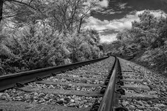 Right On Track (John C. House) Tags: everydaymiracles nik spring nikon infrared d70s johnchouse overcast traintracks