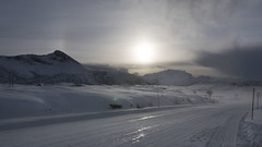 maybe Eden is in the North after all? (lunaryuna) Tags: norway lofoten lofotenislands lofotenarchipelago landscape mountainrange road driving travel journey ontheroad voyage snow ice sky wintersun sunhalo beauty weathermood winter season seasonalbeauty lunaryuna