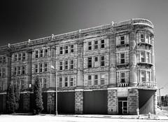 House of David Hotel (mswan777) Tags: black white hotel city cityscape street urban michigan benton harbor abandoned window glass column old nikon d5100 nikkor 1855mm railing block