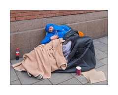 Homeless Man, Kings Cross, North London, England. (Joseph O'Malley64) Tags: homeless homelessman homelessinlondon2017 kingscross northlondon london england uk britain british greatbritain bereft onthestreet sleepingrough roughsleeper unfair unjust nohonestpoliticalinitiative atrisk pavement brickwork bricksmortar cement pointing cardboard blankets sleepingbag potential wastedlife blindpoliticians urban fujix accuracyprecision