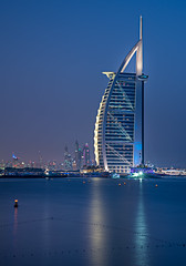 Blue Burj (LadyBoscolo) Tags: dubai burjalarab architecture building sea beach night skyline blue cityscape view landscape outdoors uae emirates glamour vip 5stars water reflection sunset bluehour lights