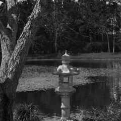 Lantern by the lake (Tim Ravenscroft) Tags: lantern japanese morikami lake monochrome blackwhite hasselblad x1d