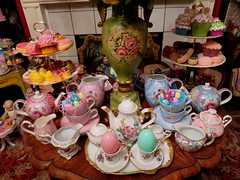 Before I put the Easter decorations away.... (Primrose Princess) Tags: easter teaparty teacups porcelain china vintage antique french france cupcakes macaron posedoll vintageeaster vintagechina afternoontea