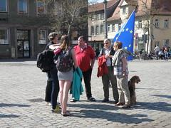 Discussion at the Schlossplatz (cessna152towser) Tags: martina erlangen schlossplatz flagofeurope europeanflag flagoftheeuropeanunion