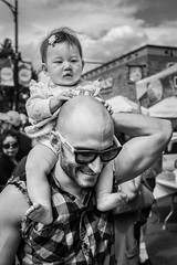 Hold on (johnjackson808) Tags: commercialdrive fujifilmxt1 thedrive vancouver bw baby blackandwhite dad monochrome people streetphotography