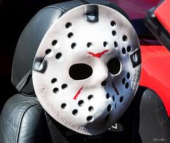 let's take a ride to Crystal Lake .. (Stu Bo) Tags: halloween hockey mask moviestar sbimageworks showcar sunlight face ride rebel certifiedcarcrazy coolcar mustanglust musclecar carshow seat killer fordmustang