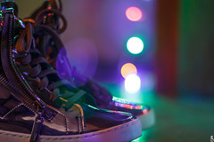 Bokeh Boots (Daniel Ares) Tags: bokeh light dark colors cold purple boots shoes tumblr hipster shine reflection reflect silver plated chrome