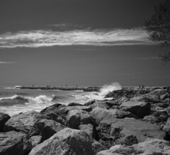 Venice beach (Tim Ravenscroft) Tags: venice beach waves rocks hasselblad x1d blackwhite monochrome