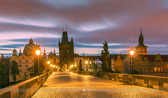 Charles Bridge - Prague - Czech Republic (~ Floydian ~ ) Tags: henkmeijer floydian photography prague czechrepublic charlesbridge sunrise morning dawn cityscape bridgetower citylights nopeople twilight bluehour canon canoneos1dsmarkiii