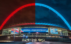A game of two halves (andy.gittos) Tags: arsenal man city manchester football club fa cup wembley stadium arch blue red gunners arsene wenger pep guardiola semi final london soccer