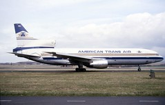 N192AT. American Trans Air Lockheed L.1011 Tristar 1 (Ayronautica) Tags: airliner aviation prestwick pik egpk n192at ayronautica scanned americantransair amtran lockheedl1011tristar1 april 1989