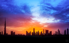 Dubai Palette... (Charlie_Joe) Tags: uae dubai nature canon sky night burjkhalifa architecture skyline urban cityscape skyscraper outdoor sunset clouds mydubai colours dusk bluehour silhouette landscape