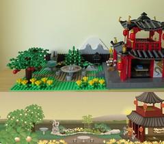 Comparison at 7:00 (yetanothermocaccount) Tags: lego moc ninjago chinese asian tea kungfu park garden architecture ideas river rush fish google gmail