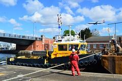 SWS Breda + Haven Seareach (4) @ KGV Lock 25-04-17 (AJBC_1) Tags: riverthames london ship boat vessel dlrblog england unitedkingdom uk ©ajc northwoolwich eastlondon newham londonboroughofnewham tug tugboat nikond3200 shipsinpictures barge royaldocks kgvlock kinggeorgevlock londonsroyaldocks docklands marineengineering swalshsonsltd swsbreda walsh damen cranebarge havenseareach damenmulticat2611 red7marine