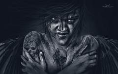 Fear and Courage (atakurt) Tags: secondlife sb drawing darkness angel sl illustration digitalarts