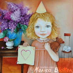 Card (Monica Blatton) Tags: flowers girl childhood birds animals mystery modern cat children gladness kid handmade contemporary fineart happiness lilac handpainted oil oilpaintings oils mystic oilpainting realism oiloncanvas carelessness blatton canvaspainting carefreeness