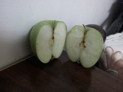 IMG_20130609_003556 (Ahmed AlHallak) Tags: 2 green apple stem with seeds half connected sliced stalk تفاح أخضر قرن بذور مقسوم بالنصف
