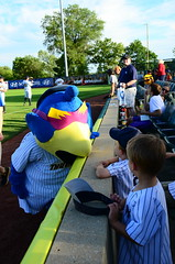 Boomer with Young Fans (slgckgc) Tags: boomer waterfrontpark trentonthunder